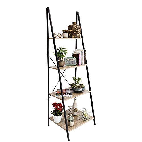 C-Hopetree Ladder Shelf Boocase Storage Rack Bookshelf Plant Stand Display Shelving, 4-Tier Industrial Wood Look Accent Home Office Furniture, Black Metal Frame