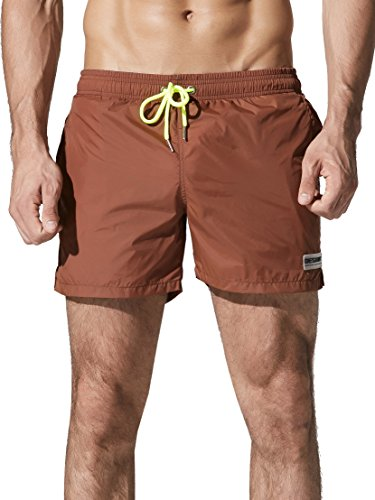 - Neleus Men's Swim Trunks Athletic Running Short with Pockets,802,Light Coffee,L,Tag 2XL