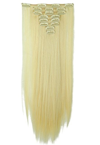 Hairpieces Clip in Synthetic Hair Extensions Japanese Kanekalon Fiber Full Head Thick Long Straight Soft Silky 8pcs 18clips for Women Girls Lady 26'' / 26 inch (88# Pale