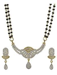 MuchMore Marvellous American Diamond CZ Fashion Jewelry Traditional Mangalsutra Golden Black Beads Chain Set