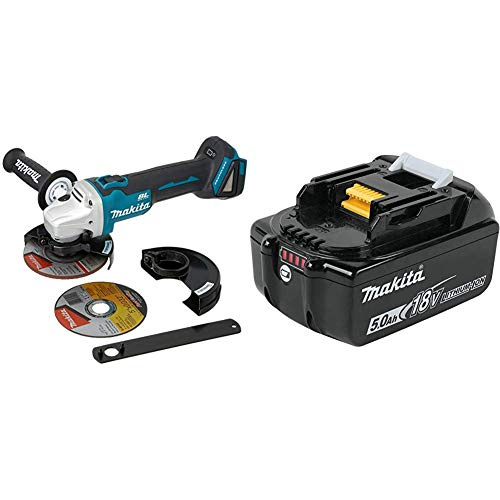 Makita XAG09Z 18 Volt LXT Lithium-Ion Brushless Cordless 4-1 2 Inch 5 Inch Cut-Off Angle Grinder, with Electric Brake with Makita BL1850B 18 Volt LXT Lithium-Ion 5.0Ah Battery