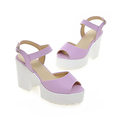AllhqFashion Women's High-Heels Soft Material Solid Buckle Open Toe Sandals Purple tUh1q
