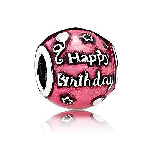 - Romántico Amor Happy Birthday Celebration Charm 925 Sterling Silver Heart Enamel Beads fit Pandora Bracelets