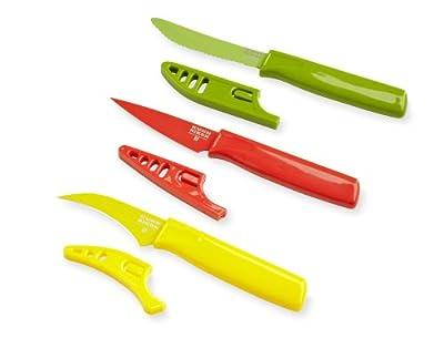 Kuhn Rikon Specialty Paring Knife Colori, Bird's Beak/Yellow, Mini Paring/Red, Curved Serrated/Green, Set of 3 by Kuhn Rikon