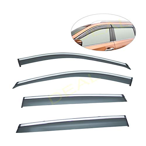 DEAL 4-piece set vent window visor with smoke chrome trim, window rain guard with outside mount tape-on type, custom fit high-class quality for 2014-2018 Nissan X-Trail Rogue