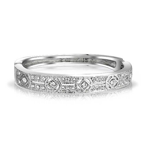Vintage Deco Style Bridal Prom Holiday Bangle Bracelet for Women Cubic Zirconia CZ Silver Tone Plated Brass