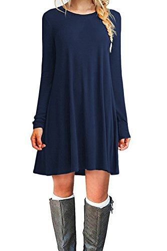 WIWIQS Women's Casual Swing T-Shirt Dresses Long Sleeve Loose Tank Top Plus Size Dress,Navy Blue XL