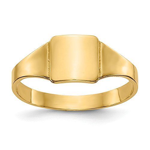 - 14K Yellow Gold Signet Ring Band Solid 2-6 mm Square Signet Baby Ring