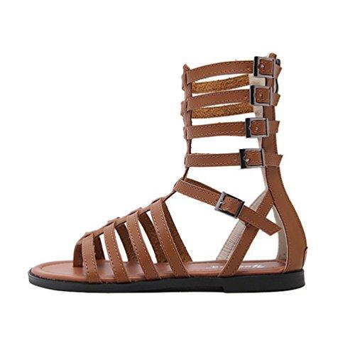 Femmes Mode Bottes Jitian Bout Été Gladiateur Plates Toe Ouvert Spartiate Marron Sandales Clip ZFAw56AnRx