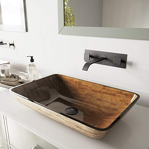 VIGO Rectangular Amber Sunset Glass Vessel Bathroom Sink and Titus Wall Mount Faucet with Pop Up, Antique Rubbed Bronze