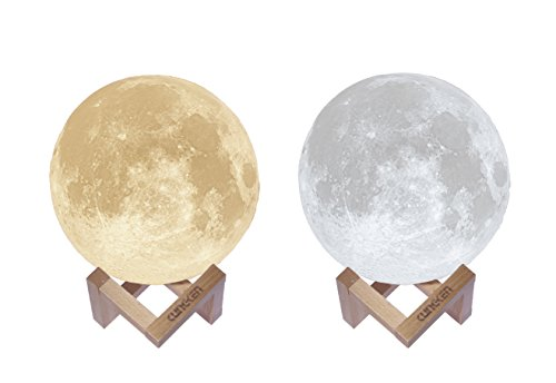 KUNGKEN Rechargeable 3D Printing Moon Lamp Premium Touch Control Luna Night Light Dimmable 2 Colors LED Mood Lamp with Magnetic Wooden Mount -