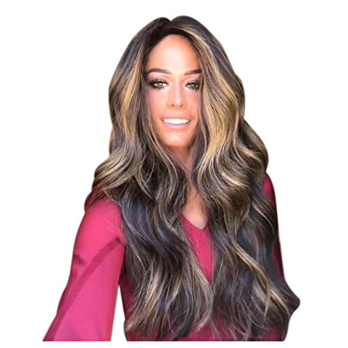 Clearance Long Wavy Wig for Black Women Mixed Color Curly Full Hair Wigs High Density Synthetic Fiber Costume Party Wig (Brown) -