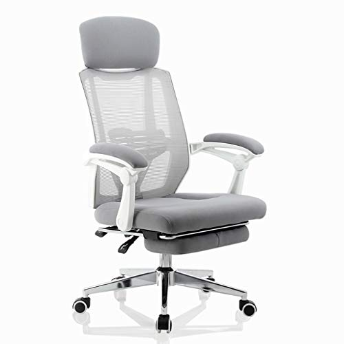 (Ergonomic Office Recliner Chair High Back Desk Chair with Lumbar Support Height Adjustable Seat Headrest Breathable Mesh Back Soft Foam Seat Cushion with Footrest )