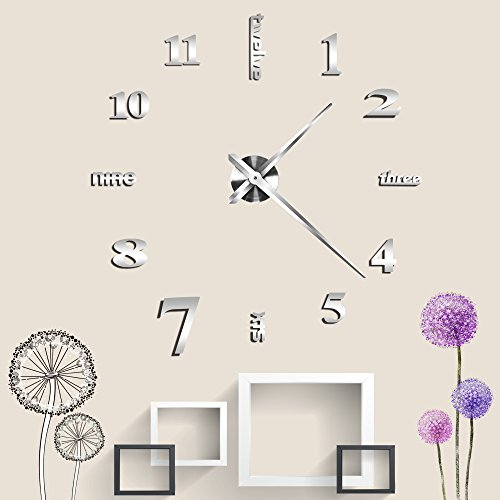 Vangold Large 3D DIY Wall Clock Art Frameless Non-ticking
