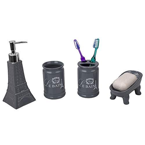 Home Basics, Grey Le Bain Paris Eiffel Tower 4 Piece Designer Ceramic Bath Accessory Set   Toothbrush Holder, Dispenser…