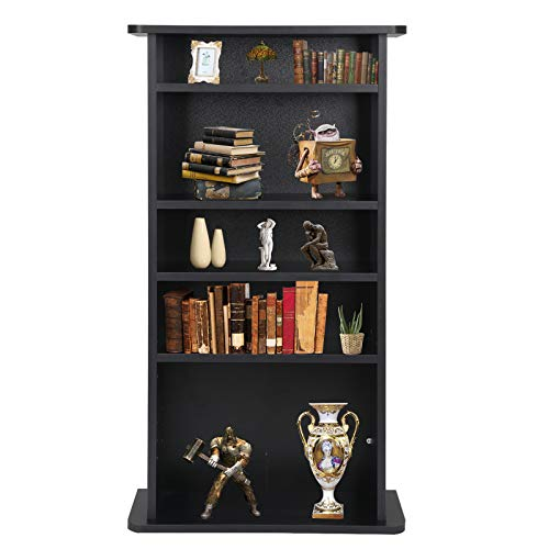 (Nova Microdermabrasion Adjustable Media Storage Tower(DVD,CD,Games), 5-Tier Wooden Media Storage Organizer Cabinet, Bookshelf Display Bookcase for CDs, Books, Video Games, Arts)