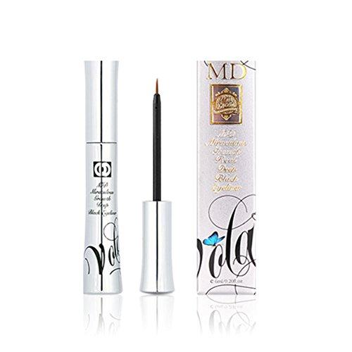 MD Miraculous Growth Black Aura Eyeliner Peptide Black Eyeliner Nourishing Liquid Eyeliner Long Lasting Waterproof Smudge-Proof for Self-Sharpening and Lash Boosting (0.21 oz / 6ml)