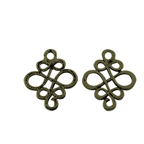 PH PandaHall 500pcs Alloy Chinese Knot Charm Tibetan Style Links Antique Bronze Charm Links for Bracelet Necklace Jewelry Making