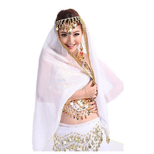 Loveble Belly Dance Costume Lady Chiffon Gold Trim Veil Shawl Face Headscarf (Indian Dance Costumes And Accessories)