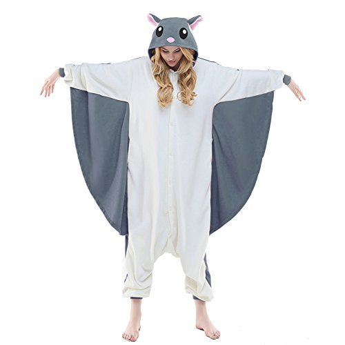 NEWCOSPLAY Unisex Aduit Flying Squirrel Pajamas- Plush One Piece Costume (M, Grey Flying Squirrel) -