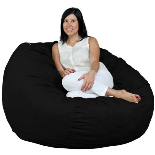 FUGU Bean Bag Chair, Premium Foam Filled 4 XL, Protective Liner Plus Removable Machine Wash Black Cover (Bean Bag Filled Pillows)