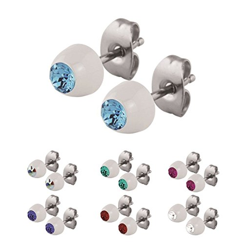 Weiß / White - SB - Sapphire / Blau - Stahl - Ohrring - Kristall - SWAROVSKI - Supernova Concept - 6 mm (Ohrstecker Ohrreifen Ohrschmuck für Damen und Herren)