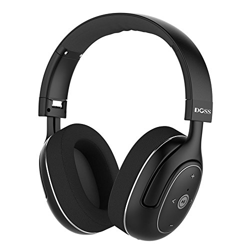 DOSS Active Noise Cancelling Bluetooth Headphones, Wireless Stereo Over Ear Headsets with Microphone, Protein Earpads, Apt-X HiFi Sound, 20 Hours Long Life for iPhone Samsung Tablet Laptop PC - Black