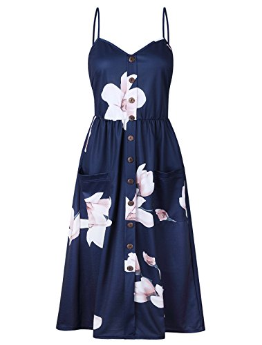 - BABAKUD Women's Dresses Summer Navy Floral Spaghetti Strap Button Down Midi Dress with Pocket, Size L