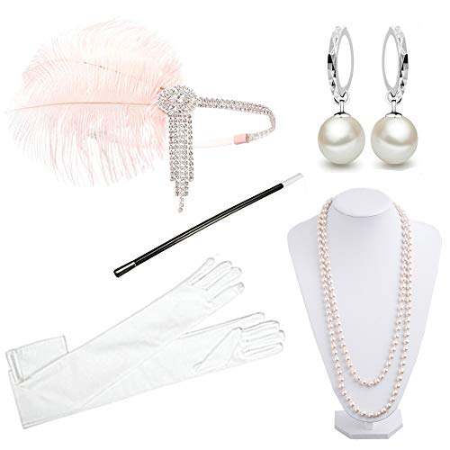 1920s Accessories Headband Necklace Gloves Cigarette Holder Flapper Costume Accessories Set for Women(eh) -