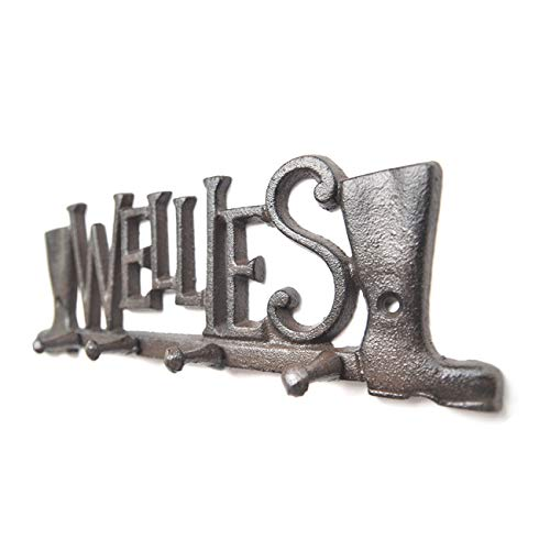 C&L Key Holder Wall Mounted Key Hook Rustic Western Cast Iron Key Hanger - Decorative Key Organizer Rack 4 Hooks with Screws and Anchors 10 inches ()