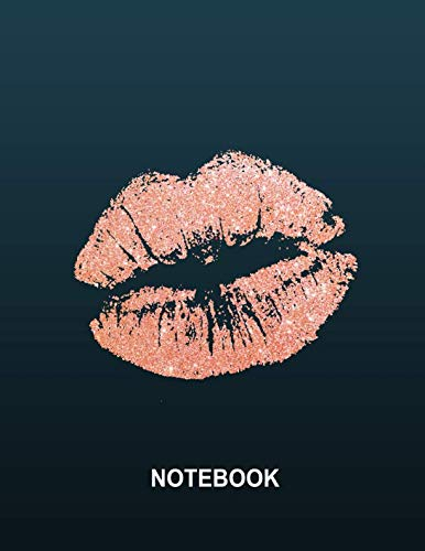 Notebook. Rose Gold Kiss Cover Design. Blank Lined College Ruled Notebook Planner Journal Diary.