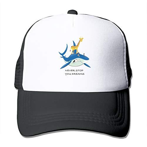 (Unisex Never Stop You Dreams Giraffe Riding on The Shark Trucker Cap Suitable for Indoor or Outdoor Activities Black)
