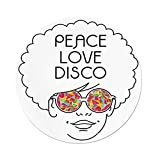 iPrint Polyester Round Tablecloth,70s Party Decorations,Drawing a Girl Afro Hair Kaleidoscopic Glasses Hippie Decorative,Multicolor,Dining Room Kitchen Picnic Table Cloth Cover Outdoor Indoo