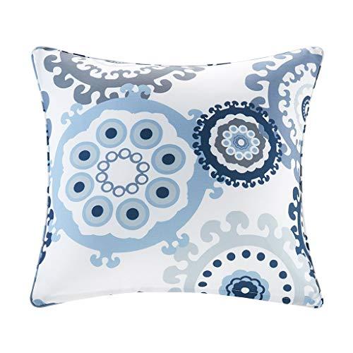 Laguna Printed Medallion 3M Scotchgard Outdoor Simple Cover Throw Pillow, Global Inspired Medallion Fashion Square Decorative Pillow, 20X20, Indigo/Blue
