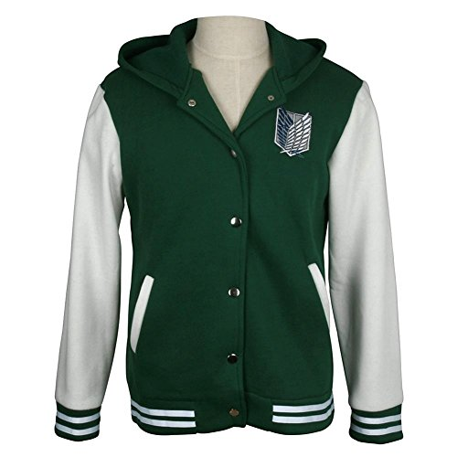 (Unisex Hooded Sweatshirt Attack on Titan Cosplay Costume, Green Hoodie Sweater Jacket Coat Adult)