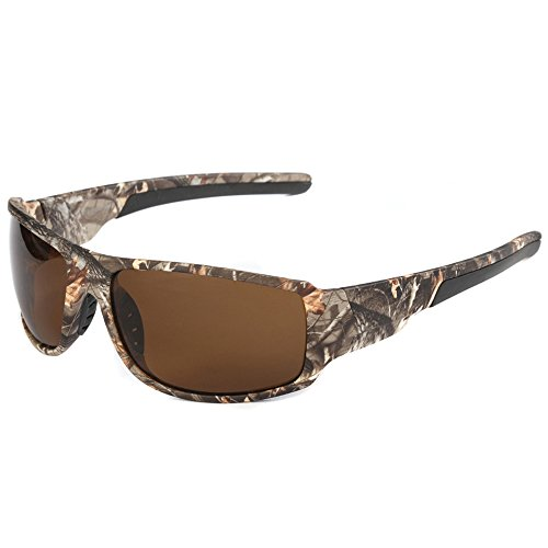 MOTELAN Polarized Camouflage Sports Sunglasses for Men's Fishing Hunting Boating Sun Glasses (Brown)