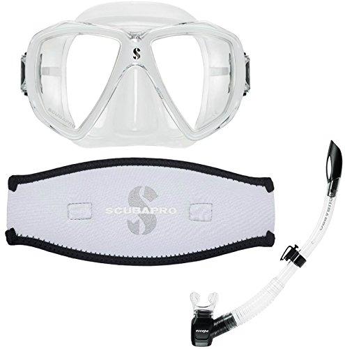 Scubapro Spectra Mask White w/Neoprene Strap Cover & Escape Semi-Dry Snorkel