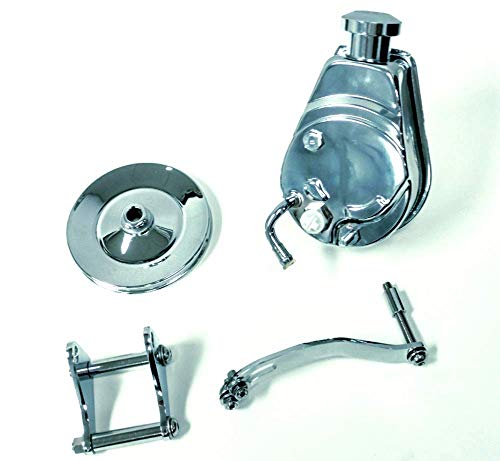 Chrome Power Reservoir Steering - Sbc Chevy Chrome Saginaw Style Power Steering Pump W/Bracket & Chrome Pulley