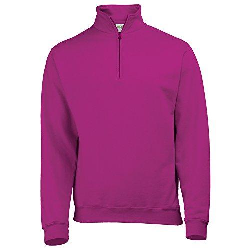 AWDis Hoods Sophomore ¼ zip sweatshirt Hot Pink L