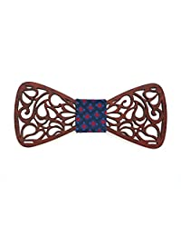 KOOWI Creative Handcrafted Men's Wooden Bow Tie Handmade Wood Necktie