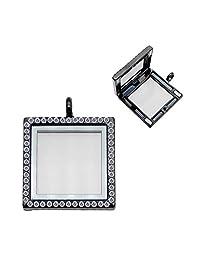 1pcs Fashiom Square Rhinestone Floating Locket Charms for Necklace DIY Photo Frame