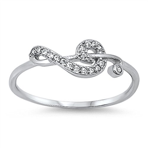 (CloseoutWarehouse Cubic Zirconia Sideway Swirl Music Note Ring Sterling Silver Size 6)