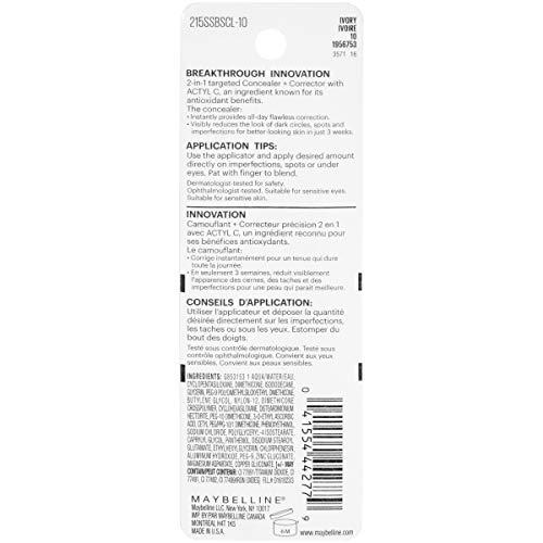 Maybelline New York Super Stay Better Skin Concealer + Corrector, Ivory, 0.25 fl. oz.