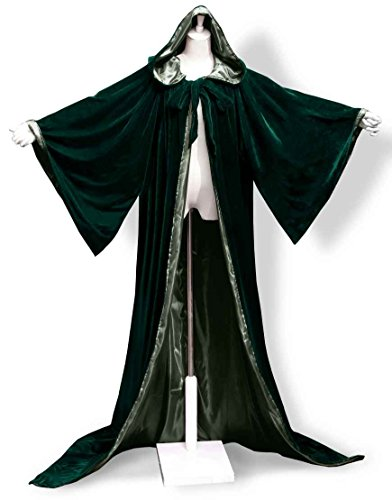[ANGELWARDROBE Halloween Velvet Hood Cloak Wizard Robe Gothic Green-Green L] (Dark Link Costume Amazon)