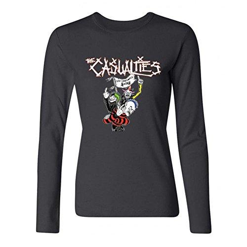 (XIULUAN Women's The Casualties Band Logo Hardcore Punk Long Sleeve T-shirt Size L)