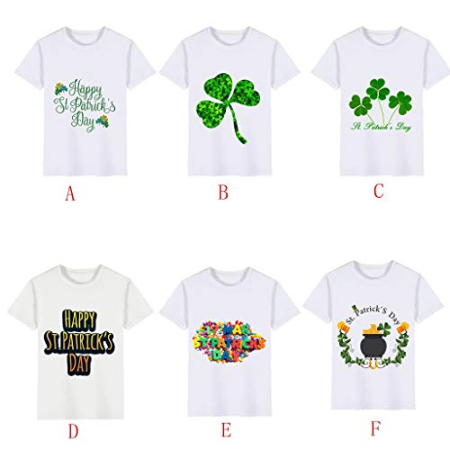 Boys T-Shirts,Clover Print Kids Wild Tops,St. Patrick's Day Memorial Clothing Boy Tee 2~6 Years Old(A,120) by Wesracia (Image #3)