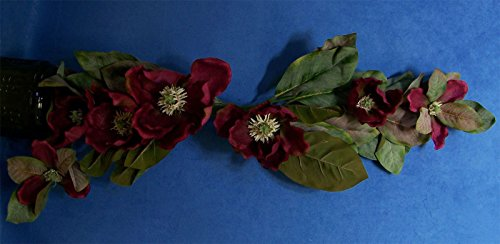Two Quality 33'' Large Burgandy Magnolia Faux Silk Flower Swag by Magnolia Swag
