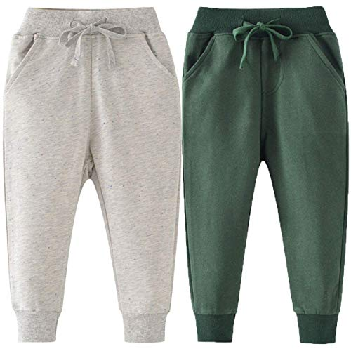 MaxTide Baby Boy Pants Drawstring Elastic Sweatpants(Pant#34-4T)