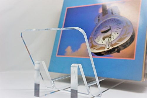 Vinyl Record Album Storage Display Stand and Holder - Modern Minimalist Design - 100% Crystal Clear Acrylic - For LP Record Albums, DVDs, or CDs - Made in USA