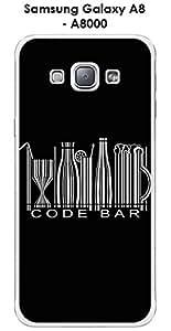 Carcasa para Samsung Galaxy, A8-A8000 design mensaje código Bar texto, color blanco